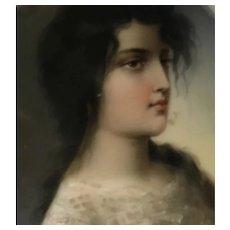 Beautiful portrait of Girl on porcelain