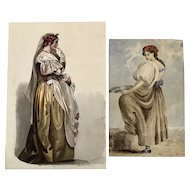 Italian Ladies ( 2 ) 19th century watercolors