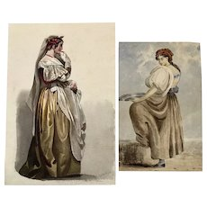 Italian Ladies ( 2 ) 19th century watercolors