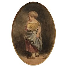19th century Watercolor sketch of Child