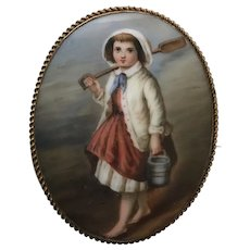 Porcelain plaque miniature  Girl by the Sea
