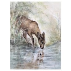 Deer at Pond Pastel framed