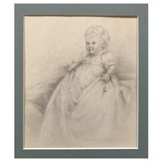 Portrait drawing of a Baby by Marcus Adams 1932, framed