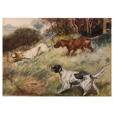 Three Hunting Dogs watercolor, framed