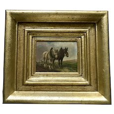 Team of Horses oil painting early 20th century German