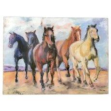 Beautiful Horses Pastel framed