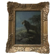Lion in Moonlight painting by C.E. Swan