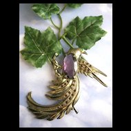 Flamboyant Massive Vintage Amethyst Glass Bird Brooch