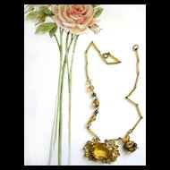 Vintage Czech Citrine  Colored Glass Massive Stone Necklace 1920's