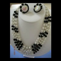 Exquisite Black Crystal and pastel Glass Demi Parure Hobe