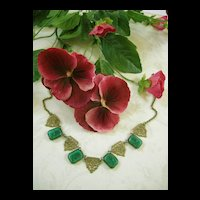1920's Czech Vintage Intaglio Forest Green Cameo Necklace