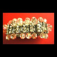 Baubles and Bangles of Glass Crystal Beads Vintage Cuff Bracelet