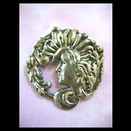 Vintage Pot Metal Circular Lady Brooch