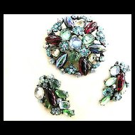 Very Old Art Glass and Rhinestone Vintage Brooch and Earring Demi