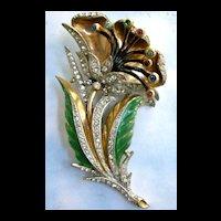 Breathtaking Vintage Massive Rhinestone Flower Trembler Brooch