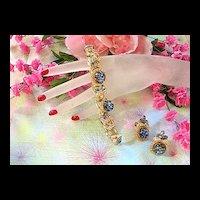 1950's Big Bold Art Glass Cat Eye Sapphire Glass Bracelet and Earrings
