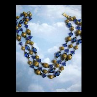 Beautiful Czech Glass Bead Bell Shape Lapis Blue Vintage Necklace