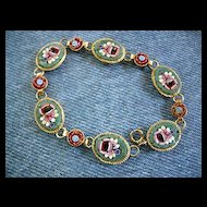 Vintage Italy Marked Micro mosaic Bracelet Pastels