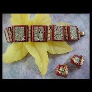 Vintage Matisse Enamel  Speckled Wide Link Bracelet and Earrings