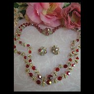 Ruby Red and Aurora Borealis Designer Crystal 2 Row Vintage Necklace and earrings