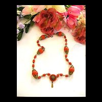 Vintage Old Celluloid Coral Colored Drippy Necklace