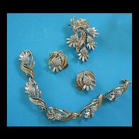 Beautiful Crown Trifari Bracelet Brooch Earrings