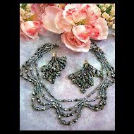 Spectacular Vintage Carnival Glass Scalloped Necklace Shoulder Duster Earrings