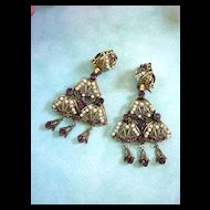 Breathtaking Early 1900's Czech Huge Drippy Chandelier Amethyst  Simulated Pearl Earrings