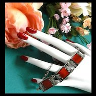 Gorgeous Vintage Sterling Silver 925 marcasite and Carnelian Bracelet