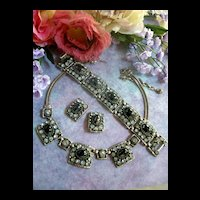 Divalicious Vintage Huge Set Hematite Rhinestone Necklace Bracelet Earrings