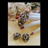 Breathtaking Topaz Encrusted Weiss Clamper Vintage Bracelet and Earrings