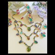 Divalicious Magnificent Vintage Caviness Humongous  Rare Necklace Earrings Brooch Bracelet
