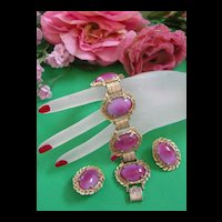 Fabulous Judy Lee Pink Vintage Chunky Bracelet and Earring Demi
