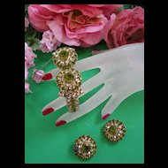 Gorgeous Olivine Encrusted Clamper Vintage Bracelet