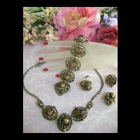 Fabulous Vintage tiger Eye cabochon necklace Bracelet Earrings Ring