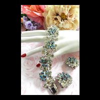 Multi Tiered Vintage Juliana 5 Link Starburst Blue Bracelet and Earrings