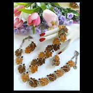 Vintage Lisner Maple Leaf Necklace Bracelet Earrings