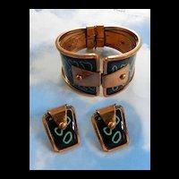 Matisse Mod Mid Century Black Enamel and Turquoise Enamel Clamper Bracelet and Earrings