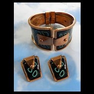 Matisse Mod Mid Century Black Enamel and Turquoise Enamel Clamper Bracelet and Earrings