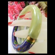 Gorgeous Vintage Chinese Jade and Cloisonne  Bangle Bracelet