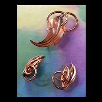 Humongous Vintage Renoir Copper Modernist Pin and Earring Demi
