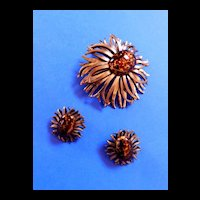 Vintage Matisse Enamel and Copper Matisse Daisy Brooch and Earrings