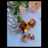 Mid Century Modern matisse Sculptura Red Bracelet and Earrings