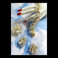 Juliana Vintage Cha Cha Crystal 5 Link Bracelet Earrings Brooch
