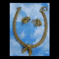 Vintage Hobe Mesh and Rhinestone Over Lap Necklace and Earrings