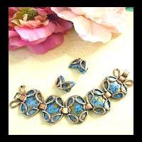 Vintage Matisse Guinevere Copper Enamel Bracelet and Earrings