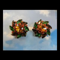 vintage Judy Lee Autumn Gigantic Rhinestone Clip earrings