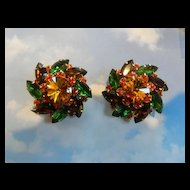 vintage Judy Lee Autumn Gigantic Rhinestone Clip earrings