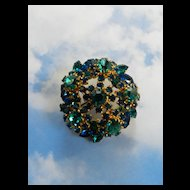 Vintage Austrian Brooch Capri Blue and Montana