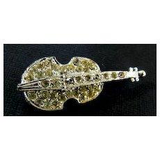 Vintage Swarovski Rhinestone Violin Pin/ Guitar